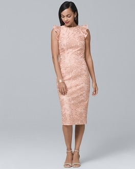 Ruffle-Shoulder Lace Sheath Dress | Tuggl