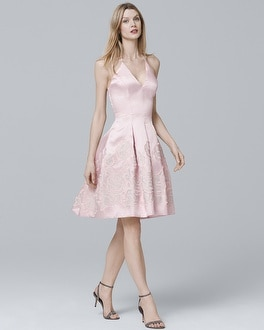 Rose Jacquard Fit-and-Flare Dress | Tuggl