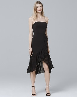 Strapless High-Low Pleated Flounce Sheath Dress at White House | Black Market in Sherman Oaks, CA | Tuggl