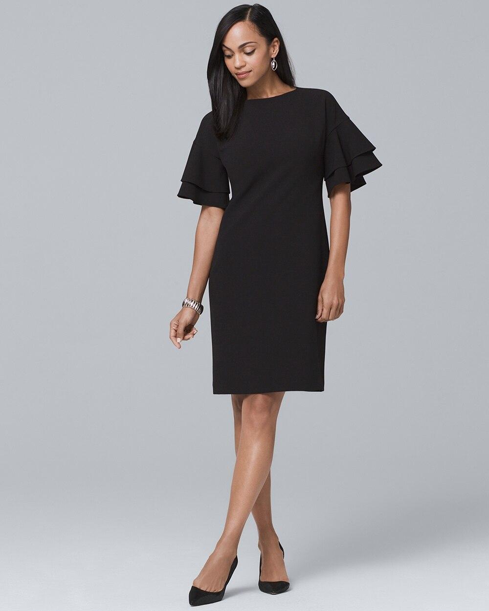 Ruffle Sleeve Black Shift Dress White House Black Market