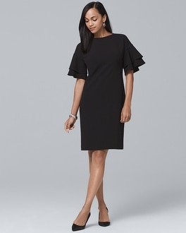 Ruffle Sleeve Black Shift Dress by Whbm