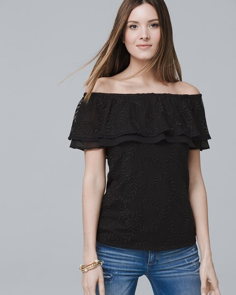 462063cf06afb0 Off-The-Shoulder Lace-Up Top - White House Black Market