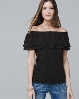 Off The Shoulder Lace Up Top by Whbm