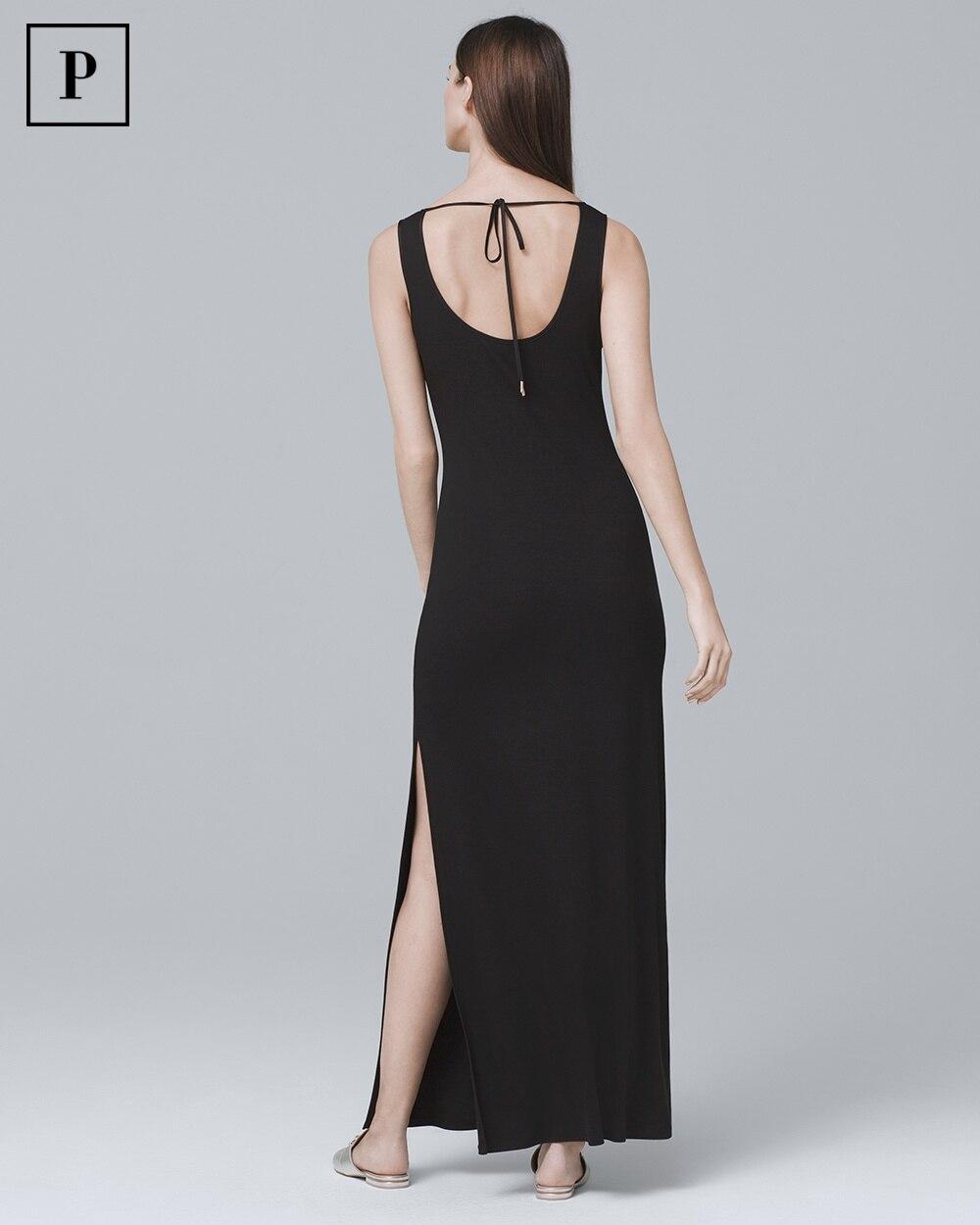 Petite Sleeveless Black Tie Back Knit Maxi Dress White House Black