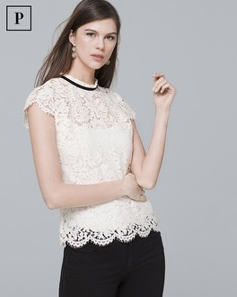 Petite Cap Sleeve Lace Mock Neck Tie Back Top by Whbm