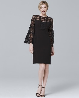 Bell-Sleeve Black Lace Shift Dress at White House | Black Market in Sherman Oaks, CA | Tuggl