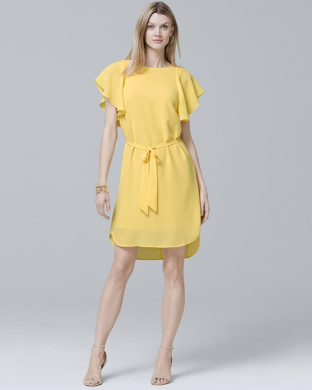 Flounce Sleeve Soft Shift Dress White House Black Market