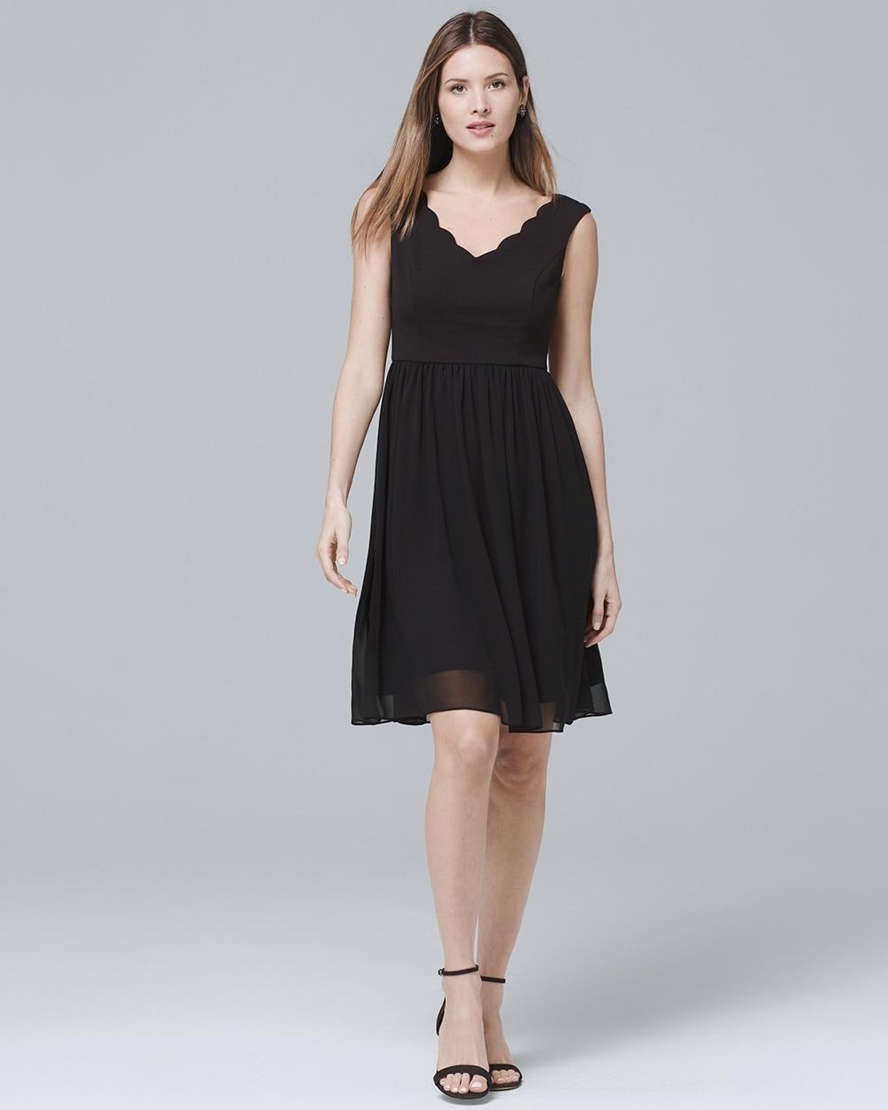 Scalloped Neck Black Fit And Flare Dress White House Black Market