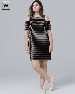 PlusCold Shoulder Stripe Knit Shift Dress | Tuggl