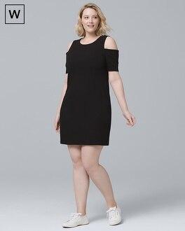 Plus Cold Shoulder Black Knit Shift Dress | Tuggl