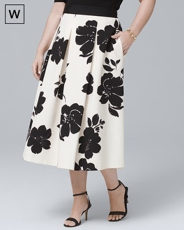 White House Black Market Plus Floral-Print Full Midi Skirt at White House | Black Market in Sherman Oaks, CA | Tuggl