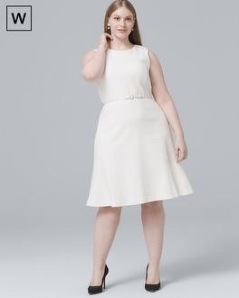 White House Black Market Plus Sleeveless Belted A-Line Dress at White House | Black Market in Sherman Oaks, CA | Tuggl