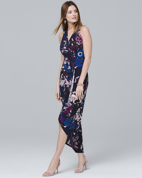 2e6a9df265b5 Return to thumbnail image selection Sleeveless Floral-Print Knit High-Low  Maxi Dress video preview image