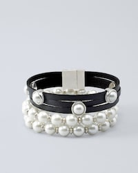Stretch Gl Pearl Detail Leather Bracelet Set Thumbnail Image Click To