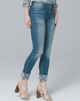 Embroidered-Cuff Skinny Crop Jeans | Tuggl