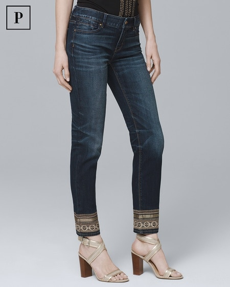 Petite Embellished-Hem Straight Crop Jeans
