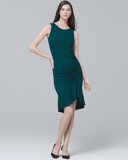 Ruched Ruffle-Hem Knit Sheath Dress | Tuggl