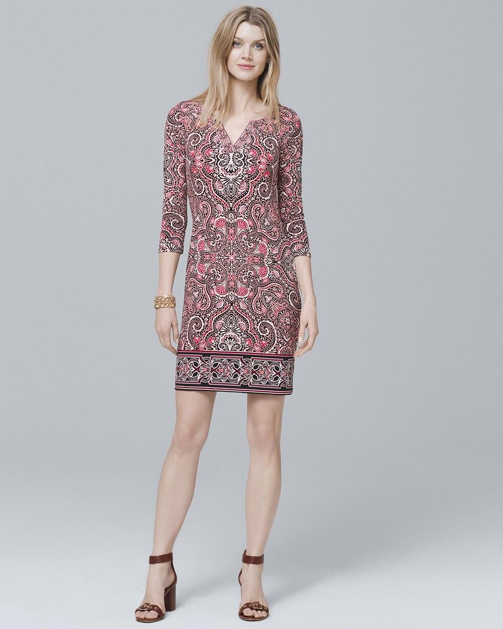 d34a2cfd06b Three Quarter-Sleeve Paisley Knit Shift Dress - White House Black Market