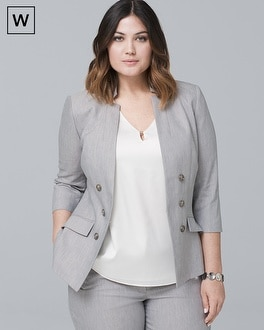 Plus Linen-Blend Blazer Jacket | Tuggl