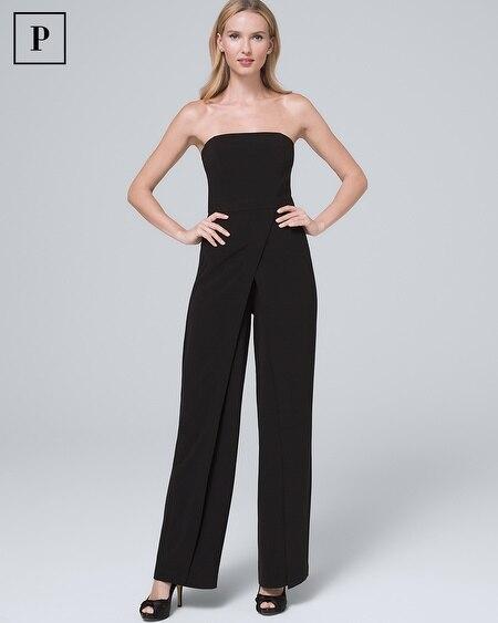 Petite Convertible Black Strapless Split-Leg Jumpsuit