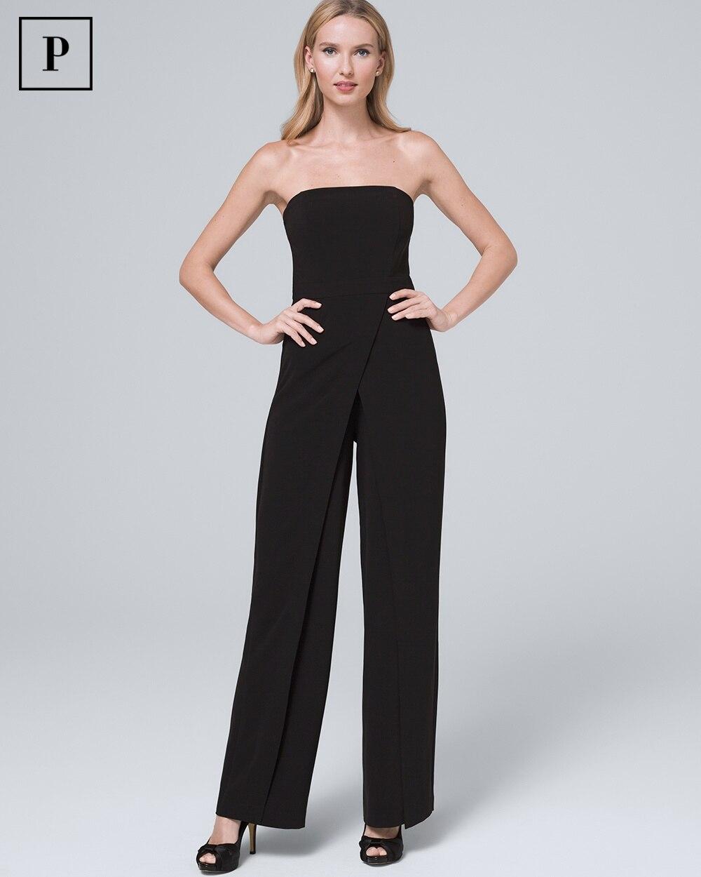 4f159567204fec Petite Convertible Black Strapless Split-Leg Jumpsuit - White House Black  Market