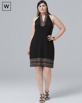 Plus Sleeveless Embellished-Knit Shift Dress | Tuggl