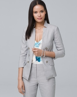 Linen Blend Blazer Jacket by Whbm