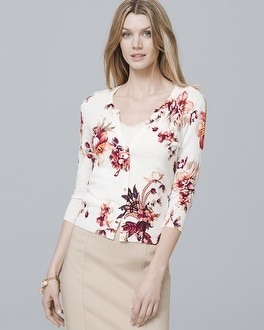 Three Quarter Sleeve Floral Cardigan by Whbm