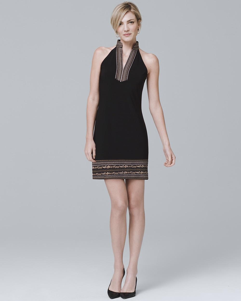 10896fd28d0 Sleeveless Embellished-Knit Shift Dress - White House Black Market