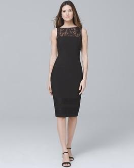 Lace Detail Black Sheath Dress by Whbm