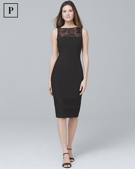 Petite Lace Detail Black Sheath Dress by Whbm