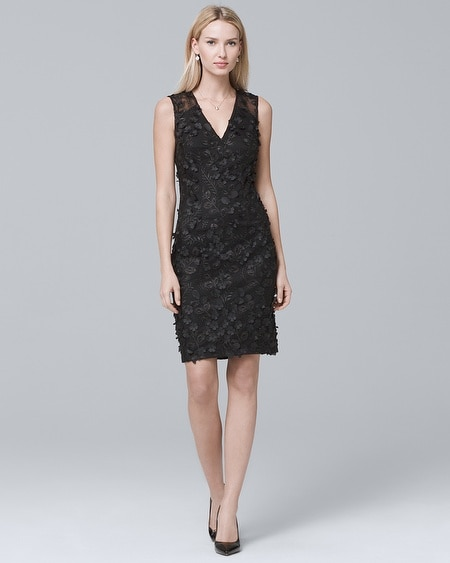 3D-Applique Black Lace Sheath Dress