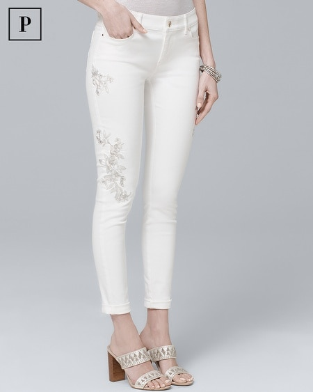 Petite Embroidered Crop Skinny Jeans