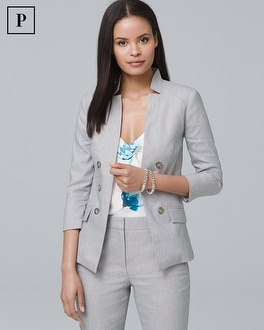 Petite Linen-Blend Blazer Jacket | Tuggl