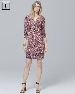 Petite Three Quarter-Sleeve Paisley Knit Shift Dress | Tuggl