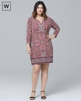 Plus Three Quarter-Sleeve Paisley Knit Shift Dress | Tuggl