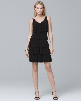Tiered Ruffle Black Knit Dress by Whbm