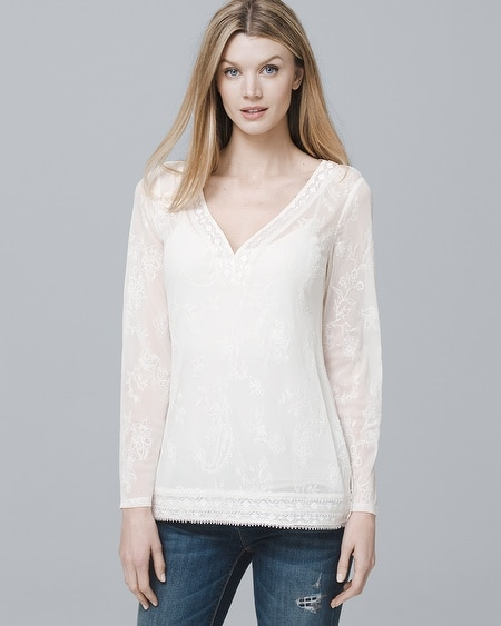 Embroidered-Mesh Tunic