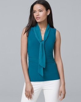 Sleeveless Tie Neck Blouse by Whbm