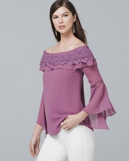 Crochet Trim Off The Shoulder Blouse by Whbm