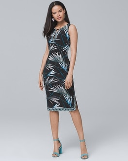 Palm-Print Knit Sheath Dress | Tuggl