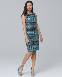 Embroidered Sheath Dress | Tuggl