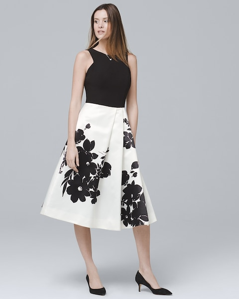 df03a0026d Exploded Floral Fit-and-Flare Dress - White House Black Market