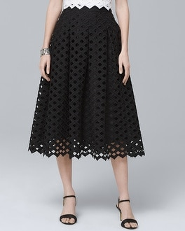 Lattice Black Full Midi Skirt | Tuggl