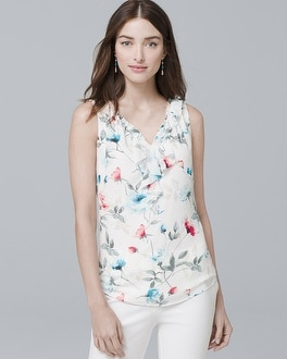 Ruffle-Detail Floral Woven Shell | Tuggl