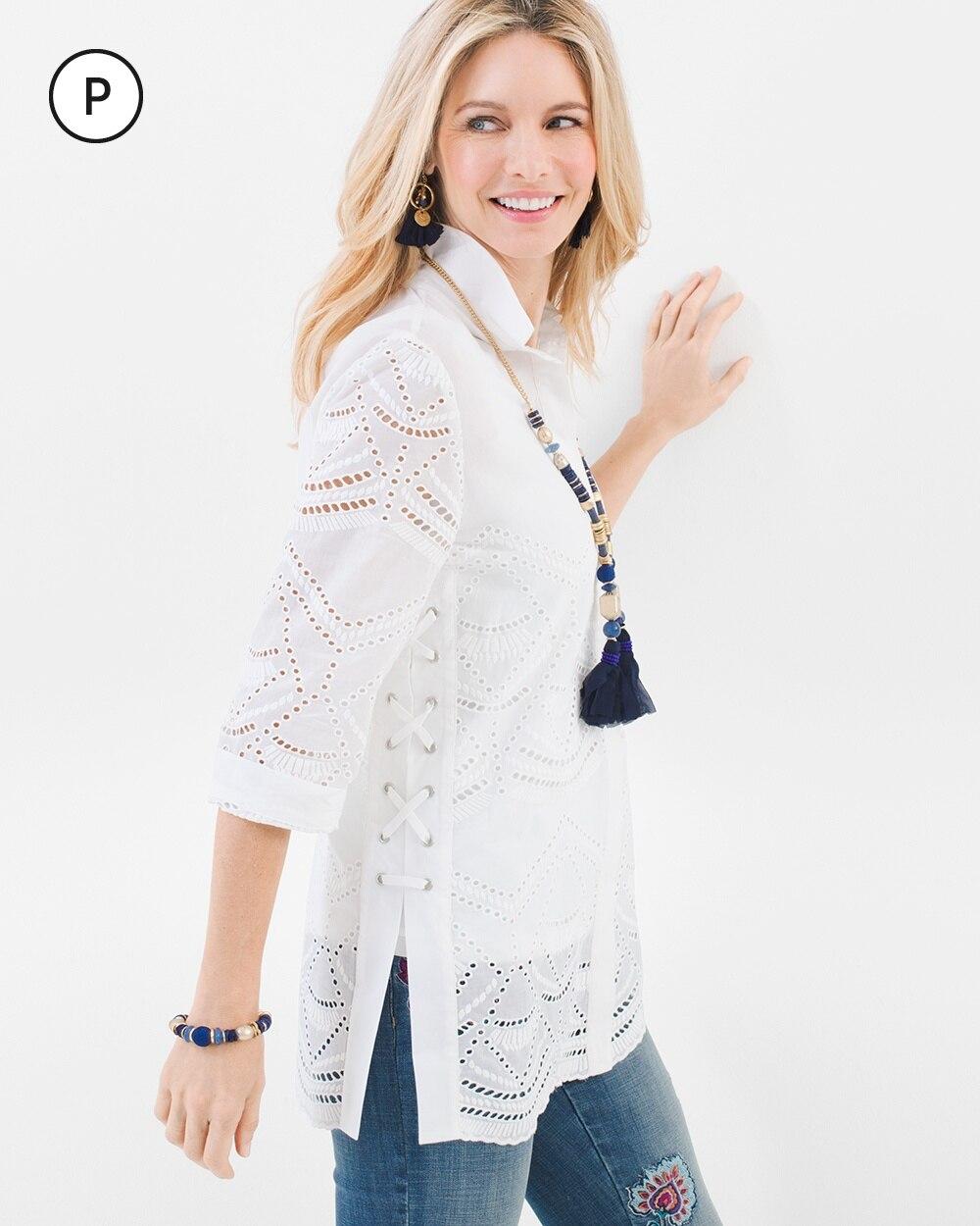 Petite Eyelet Lace-Up Shirt