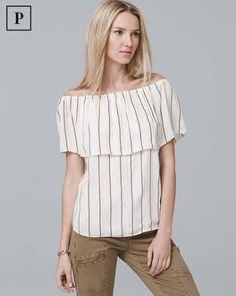 Petite Off-the-Shoulder Stripe Blouse | Tuggl
