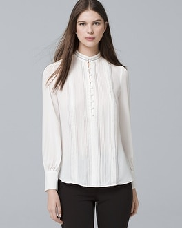 Pintucked Button Front Blouse by Whbm