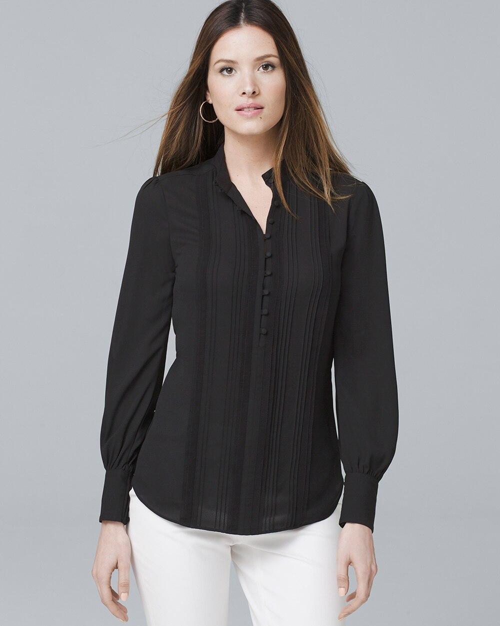 93e09b977f8558 Pintucked Black Button-Front Blouse - White House Black Market