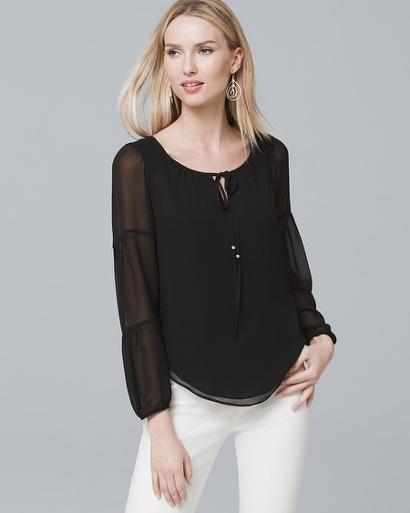White House | Black Market. Off-the-Shoulder Black Blouse